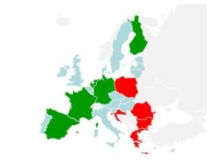 Qualidade das redes ferroviárias. A verde, os países com as redes mais eficientes e a vermelho as piores.