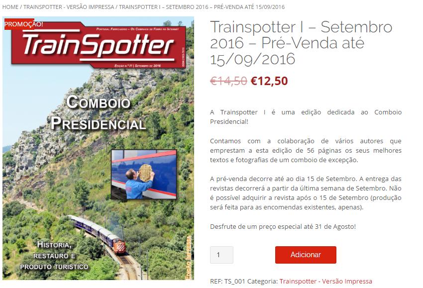 Clique na imagem para aceder à venda da Trainspotter.