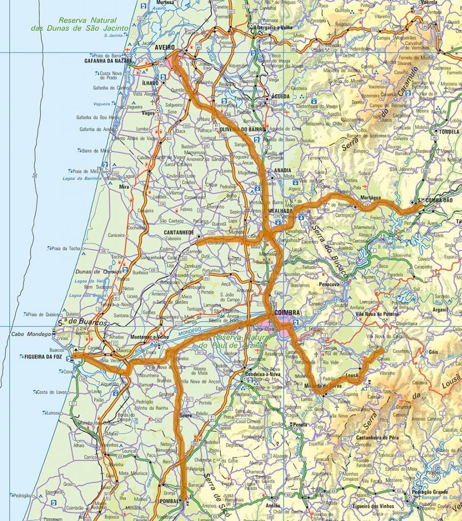 Exemplo, a laranja, do que podia ser a malha regional ferroviária de Coimbra